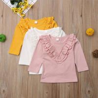 Kinder Designer Kleidung Mädchen Falbala Rüschen T-shirts Kinder Solide Süßigkeiten Farbe Langarm Tops Baby O Neck Schöne lässige Bluse Py440
