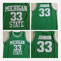 NCAA Michigan State Spartans # 33 Magie LA Earvin Johnson College Basketball Trikots Grün Größe S-XXL 2019 New Style