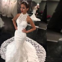 2019 High Neck White Wedding Dresses Sexy Sleeveless Mermaid Bridal Gowns Back Zipper Custom Made Sweep Train Lace Wedding Dresses