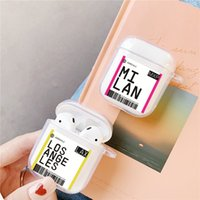 Hot Global Popular Tourist City Label Barcode Case For AirPods 2 1 Bluetooth Headset New York Seoul London Tokyo Clear TPU Case