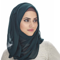 Женщины простой пузырь шифоновый шарф 50 цветов хиджаб обернуть сплошной цвет шали повязка мусульманские хиджабы шарфы банданы пузырь тюрбан LJJA2726