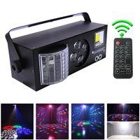 LED 레이저 스트로브 4 in1 DMX512 무대 레이저 효과 조명 DJ 디스코 생일 파티 웨딩 장식 클럽 및 바 네 기능