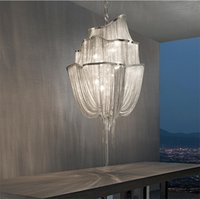 Modern Gümüş Altın Alüminyum Zincir Püskül Avize Kolye Işık Ev Oturma Odası Dekor Tavan Lambası Armatürü PA0017