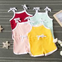 Sommer-Kind-Kleidung-Baby-Fest Sling Strampler Babys Ärmel Straps Jumpsuits Kleinkind-Mädchen-Kleidung Junge Lässige Kleidung M1809