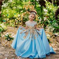 الأميرة زهرة الفتيات فساتين جوهرة الرقبة الكرة أثواب الترتر زين مطرز مهرجان اللباس للبنات الساتان مخصص الاطفال فساتين عيد