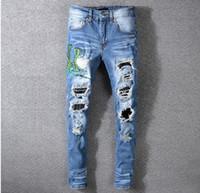 Мужские рваные змеиные вышитые джинсы скинни Модный дизайнер проблемных приталенных мотоциклетных байкеров с дырочками Нищий Хип-хоп Джинсовые брюки 560