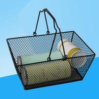المعادن التسوق سلة الحديد سلك شبكة التسوق الغذاء الفواكه تخزين سلة مستحضرات التجميل سلال التخزين مع مقبض المنتجات في الهواء الطلق LXL741Q