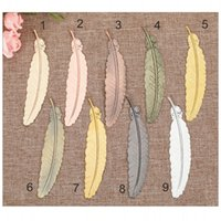 9 Couleurs Plume Métal Bookmark document Livre d'or Mark Étiquette Argent Or Rose Bookmark Bureau Fournitures scolaires
