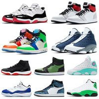 scarpe Nike Air Jordan Retro JUMPMAN Basketball LOW WMNS CONCORD 11 11s Shoes New Playground 13 Flint 13s Womens Mens 1 Fearless 1s Travis Scott 2019 Bred High scarpe da uomo donna