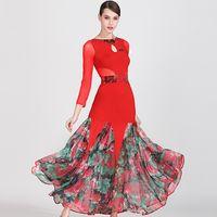 Bühne tragen Ballsaal Tanzkleider Frauen Standard Kleid Walzer Druck Spanisch Red Flamenco Kostüm