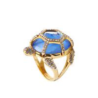 New York Big Design Blue Turtle Gemstone Ring 18 K anel de diamante em estoque frete grátis
