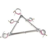 Nuovo design Gioco per adulti Kit bondage Cinture di ritenuta con colletto Manette in acciaio inox Kit di vincoli in acciaio inox Giocattoli per coppie