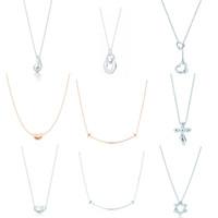 New Charm подарок 925 стерлингового серебра воды падение гороховой кулон Tif ожерелье крест улыбка солнце ожерелье ювелирные изделия