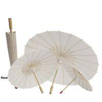 100pcs Livro Branco Partido nupcial branco Bamboo Paper Umbrella Parasol casamento Dança Decor nupcial do casamento Guarda-sóis Guarda-chuvas CCA11846