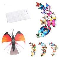 Buzdolabı Mıknatıslar Kelebek Etiketler 3D Kelebek Dekorasyon Duvar Etiketler Ev Dekorasyonu 12pcs 3D Kelebekler Çıkarılabilir Duvar Etiketler BH2186 TQQ