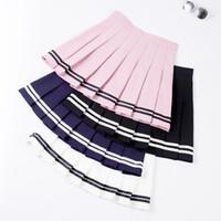 XS-XXL de cuatro colores de talle alto A-Line Mujeres falda de rayas marinero costura falda plisada cintura elástico de las muchachas dulces falda de la danza
