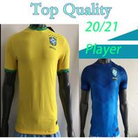Versión del jugador 2020 Brasil Copa América Inicio Alejado de fútbol amarillo Jersey 20 21 # 11 P.COUTINHO Camisa de fútbol # 12 Uniformes de fútbol Marcelo