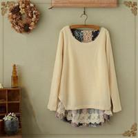 AREALNA 2018 Herbst Mori Mädchen Floral Lace Stitching Sweatshirt gefälschte zwei Stücke Pullover Casual lose Hoodies Tops plus Größe 4XL Y190829