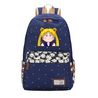 Anime Sailor Moon Wave Point Women Cute Backpack Canvas Travel Backpack Kawaii School Bags  Feminina Cartoon Bagpack