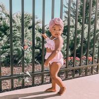 Moda Bebek Kız bebekler Katı fırfır Sling Mayo Bow Bikini Mayo Yüzme Kostüm Yaz 2PCS Giysiler
