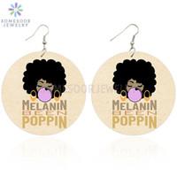 SOMESOOR Mélanine Vous connaissez Poppin Afrique Bois Boucles d'oreilles Bubble Gum fille Afro naturelle Hair Design Dangle Bijoux Cadeaux Femmes