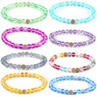 Mode verre flash pierre perles Bracelet 8 mm 6 mm Dull polonais givré coloré Moonstone perles Zircon cuivre Bracelet à billes pour les femmes hommes