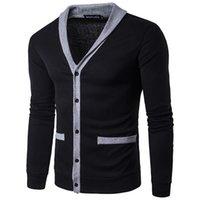 Дизайнер V шеи Кардиган мужские свитера моды с длинным рукавом Contrast Color мужские свитера с помощью кнопки Спринг мужчина одежда