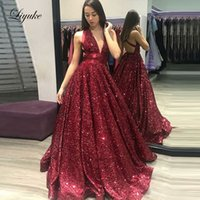 2019 Halter A Line Prom Dresses Sequined Sleeveless Backless...