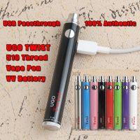 Autêntico UGO Torção Inferior Micro USB Passthrough Vape 510 Bateria de Rosca Tensão Ajustável e Carregador 650 900 mAh Ego Evod Vision VV Pen