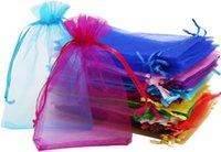 """Liberi Ship 100pcs 4 """"X6"""" (10 * 15 cm) 20 colori puro coulisse in organza borse gioielli sacchetti di nozze festa di Natale borse regalo"""