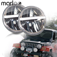 "7"" İnç Led (36W) Far DRL / Amber Jeep Wrangler JK TJ LJ CJ Willys Wheeler Rubicon Sahara Hummer Defender için Lights çevirin"
