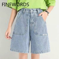 FINEWORDS Blue Mid Length High Waist Shorts Jeans Loose Plus...