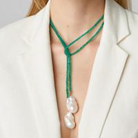 Pendentif Colliers Femmes Tempérament Longue Drop Pendientes Collier Baroque Ensemble d'eau douce perle Perles Vert Exquisite Bijoux à tour de cou fait à la main