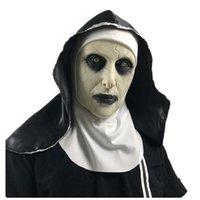 Le Nun Masque Latex avec Crucifix Terreur visage Foulard masques effrayants Cosplay Thriller Antifaz Para Fiesta Horreur Mascara Cross Mask Halloween