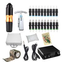 Profissionais do tatuagem Rotary Pen Kits cartucho Needles Define Power Supply com Transportador Box