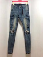 2020 الموضة الجديدة الرجل مصمم الجينز مزدوجة الديكور جيب ~ الولايات المتحدة SIZE 28 - 36 ~ جودة عالية للرجال الصورة مصمم الجينز