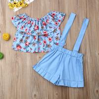 Summer Baby Girls Floral épaules Tops + Straps Shorts Deux Pièces Vêtements Ensemble Trendy Romper Jumpsuit Fleur Imprimer Survêtement E22603