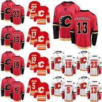 Calgary Flames Trikots 13 Johnny Gaudreau Jersey 23 Sean Monahan 5 Mark Giordano 19 Matthew Tkachuk Rot Eishockey Trikots Individuell genäht