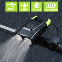 4000mAh 유도 자전거 전면 조명 세트 USB 충전식 스마트 헤드 라이트 경적 800 루멘 LED 자전거 램프주기