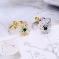Популярные bee daisy кольцо женский Хан сети прилив студент может быть повернут личность мода вращающееся кольцо luxury trend изысканный Циркон ювелирные изделия
