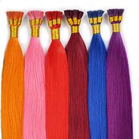 حار بيع 100٪ ريال البرازيلي الكيراتين علاج الشعر أنا نصيحة الشعر التمديد الأزرق الأحمر الرمادي الوردي الأحمر الأرجواني مختلف الشعر الملون 14-24 بوصة