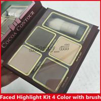 Новый макияж Cocoa Contour Kit 4 цвета Bronzers подсветки порошковых палитры обнаженного цвета мерцание палочки косметики шоколадные тени для век с кистью