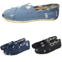 Washed Denim Sneakers Slip- On Casual Lazy Shoes for Women an...