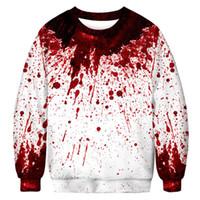 19mens дизайнер толстовки Halloween Горячий продавать 3D капли крови Цифровая печатная Круглый шеи гвардии Одежда Отдых Большая осень Оптом