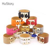 HUISTORY мода широкая версия дамы три кнопки металла Pu кожаные браслеты для женщин браслет пара ювелирных изделий подарок