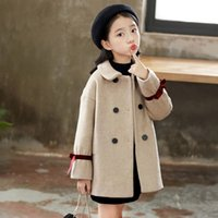 Red Ribbon Solid Color Woolen Pink Children' s Wear Coat...