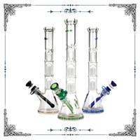 14 polegadas Phoenix tubos de água de vidro e beaker de 7mm Bongo com duplo 8 braços de árvore PERC 18.8mm conjunta conjunta