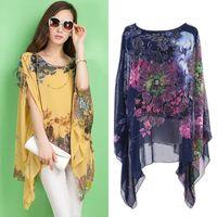 Loose Women Chiffon floral impressão Kaftan Poncho Blusa Praia Tops Sunwear