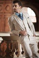 새로운 스타일의 베이지 색 신랑 턱시도 노치 옷깃 신랑 스미스 망 웨딩 드레스 우수한 남자 자켓 블레이저 3 조각 정장 (자켓 + 바지 + 조끼 + 넥타이) 27