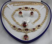 """Boda de las mujeres preciosas de Prett 2 opciones anillo de cristal rojo al por mayor de 10 * 14 mm (# 7.8.9) collar colgante de cadena de 18 """"aretes brac"""